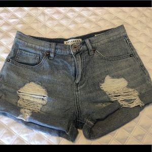 High waisted medium wash jean shorts